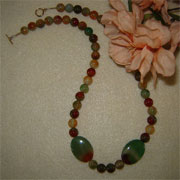 Rainbow Sardonyx Gemstone Beaded Necklace