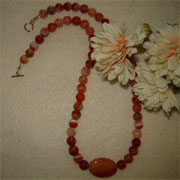 Red Orange Sardonyx Gemstone Beaded Necklace