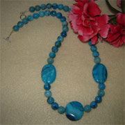 Blue Crazy Lace Agate Gemstone Beaded Necklace