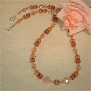 Czech Glass Beaded Necklace Of Light & Dark Peach