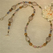 Czech Glass Beaded Necklace Of Smoky Gray