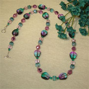 Czech Glass Beaded Necklace In Purple & Teal