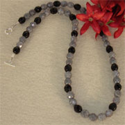 Luster Stone Gray and Jet Black Glass Beaded Necklace
