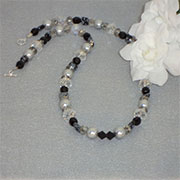 Black And Silver Beaded Necklace With Mixture Of Shapes And Sizes