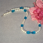 Pearl And Aqua Glass Beaded Necklace