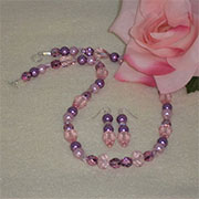Lavender And Pink Beaded Necklace And Earrings