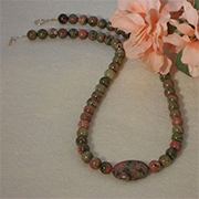 Unakite Gemstone Beaded Necklace