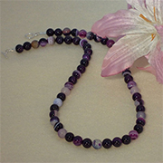 Purple Striped Agate Gemstone Beaded Necklace