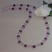Pink And Plum Glass Crystal Bicone Necklace