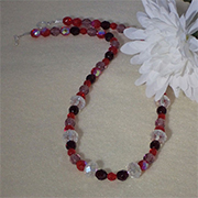 Glass Beaded Necklace of Red And Purple