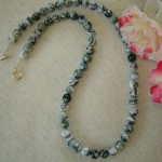 Light Green Tree Agate Gemstone Beaded Necklace