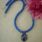 Blue Agate Gemstone Necklace With Glass Opal Cabochon
