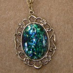 Dark Green Glass Opal Cabochon On A Chain of Textured Links