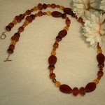 Czech Glass Beaded Necklace Of Smoked Topaz & Gold