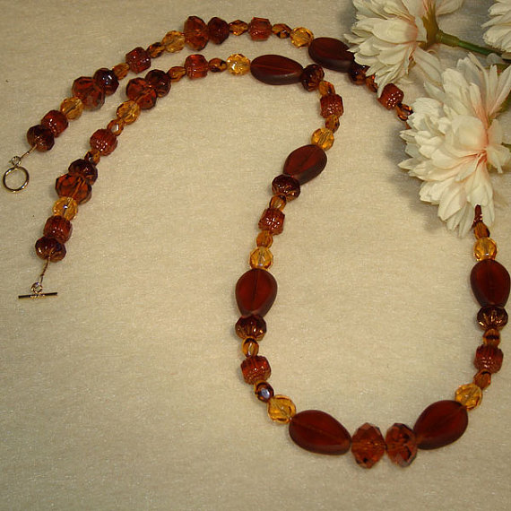 Czech Glass Beaded Necklace Of Smoked Topaz