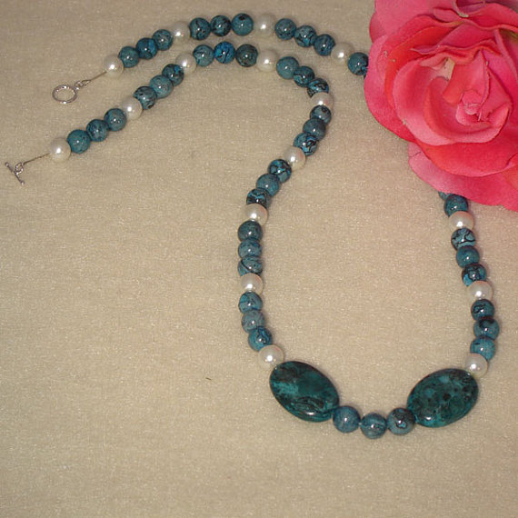 Blue Picasso Jasper Gemstone Beaded Necklace