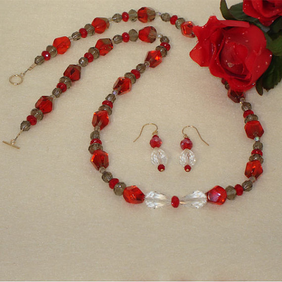 Czech Glass Beaded Necklace and Earring Set