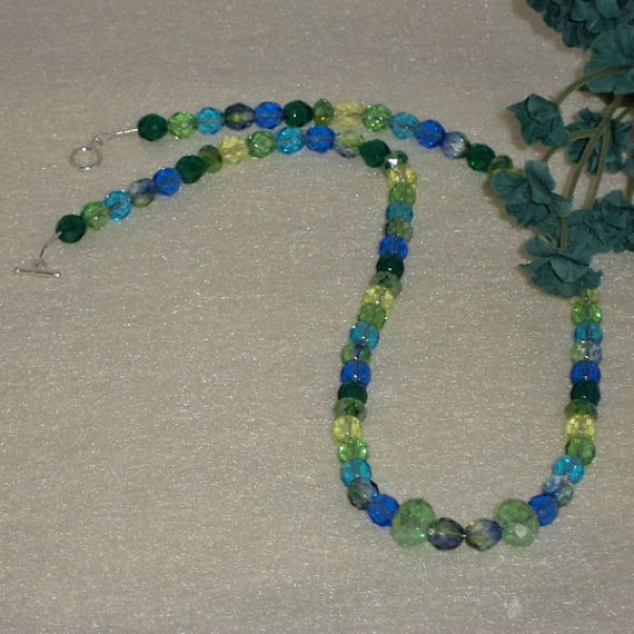 Czech Glass Beaded Necklace Of Blues and Greens