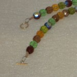 Czech Glass Beaded Necklace In Browns and Greens
