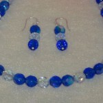 Light And Dark Sapphire Glass Beaded Necklace and Earrings