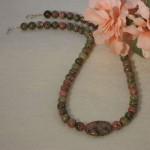 Unakite Gemstone Beaded Necklace