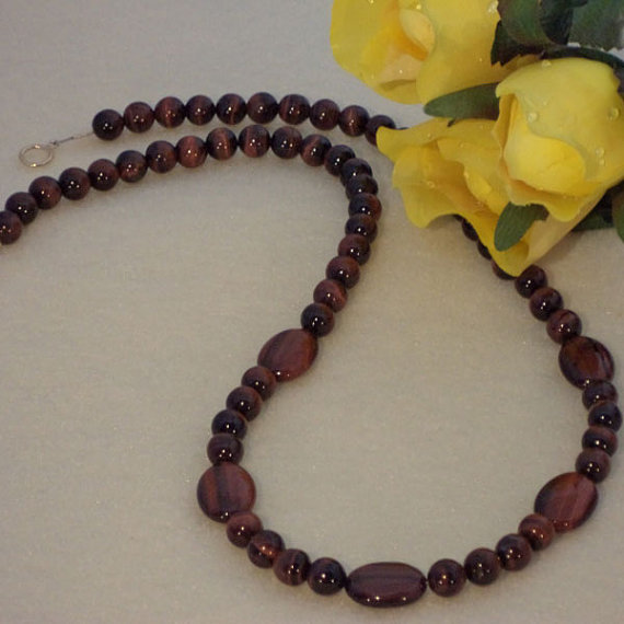 Red Tiger Eye Gemstone Beaded Necklace