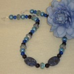 Blue Necklace With Mixture Of Beads