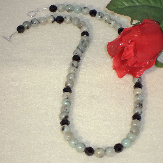 Sesame Jasper Gemstone Beaded Necklace