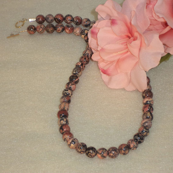 Leopardskin Jasper Gemstone Beaded Necklace