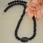 Black Sardonyx Gemstone Beaded Necklace