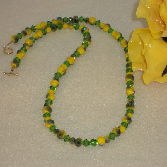 Chartreuse And Green Crystal Beaded Necklace