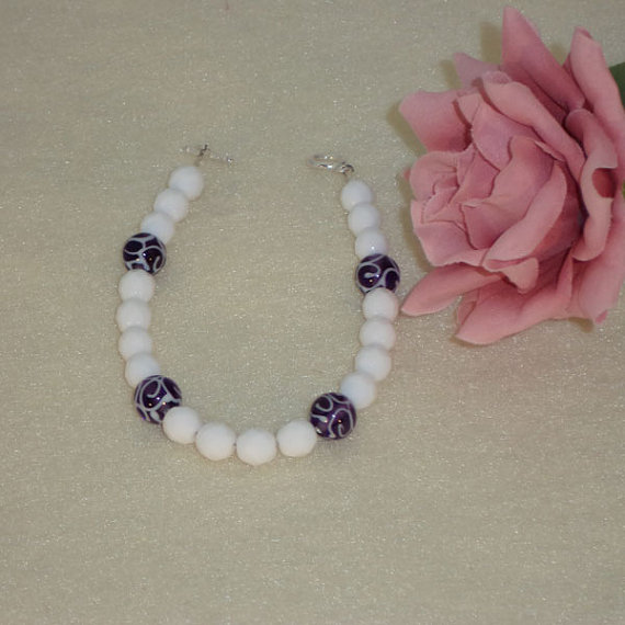 White Bracelet With Czech Lampwork Beads