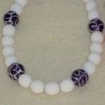 White Bracelet With Czech Lampwork Beads