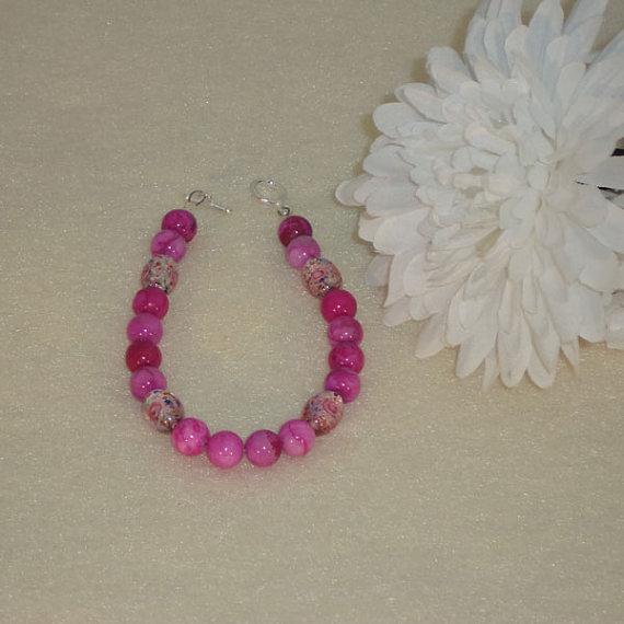 Pink Crazy Lace Agate Gemstone Bracelet