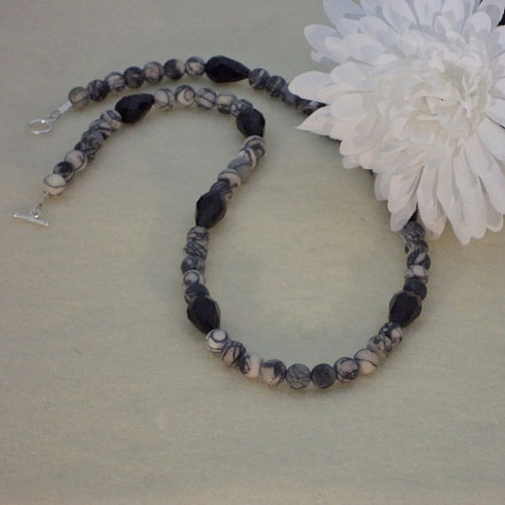 Matte Black Picasso Gemstone Necklace