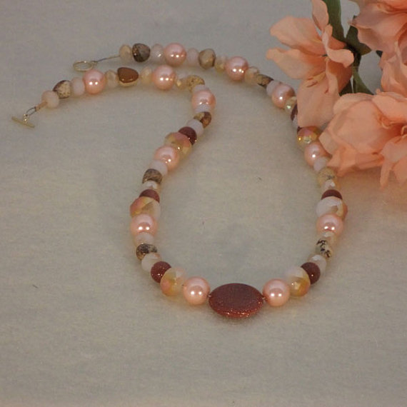 Peach And Brown Beaded Necklace With Mixture Of Shapes and Sizes