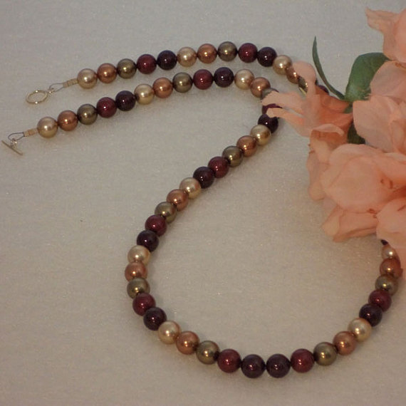 Swarovski Crystal Pearl Necklace In The Colors Of Autumn And Fall
