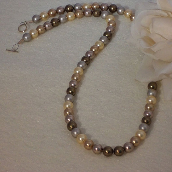 Swarovski Crystal Pearl Necklace In Gold, Bronze And Brass Colors