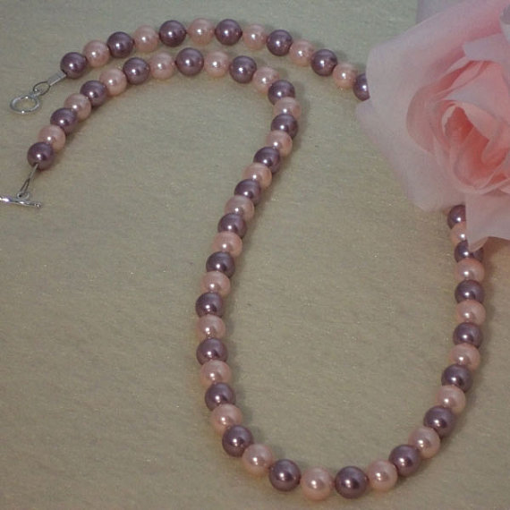 Lilac And Blush Shell Pearl Necklace