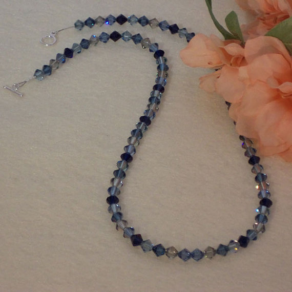 Swarovski Crystal Necklace In Dark Blues and Black