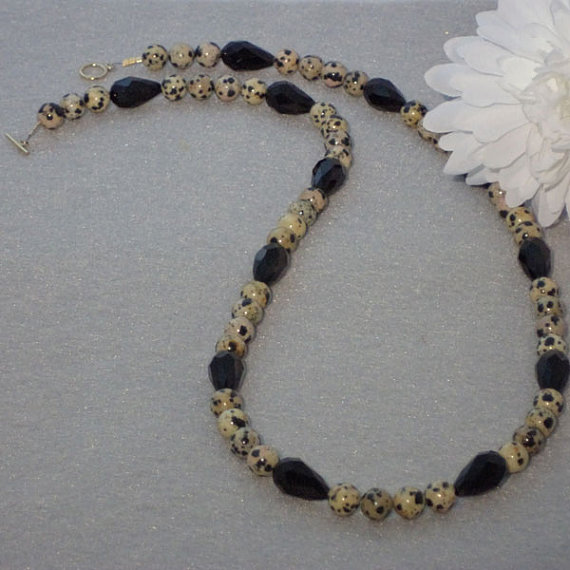 Dalmatian Jasper Gemstone Beaded Necklace