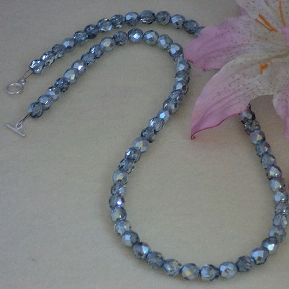 Czech Fire Polished Beaded Necklace of Stone Blue Luster