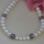 Eggshell White Pearl Necklace Accented With Czech Lampwork Beads