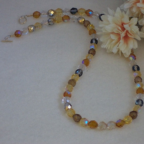 Czech Glass Beaded Necklace With Gold and Brown Colors