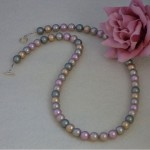 Swarovski Crystal Pearl Necklace In Mixture Of Soft Colors