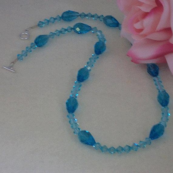 Elegant Swarovski Crystal Bicone Necklace in Aqua