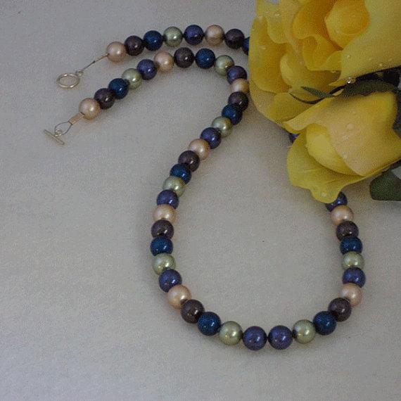 Swarovski Crystal Pearl Necklace In Dark Colors