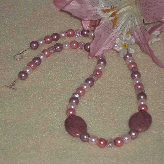 Mixture Of Pink & Lilac Pearl Necklace
