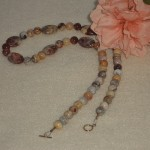 Crazy Lace Agate Gemstone Beaded Necklace