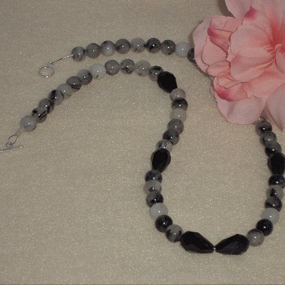 Tourmalated Quartz Gemstone Beaded Necklace